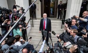 Jeremy Corbyn briefs journalists about Labour's manifesto