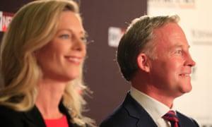 The Tasmanian Labor leader, Rebecca White, and the premier, Will Hodgman
