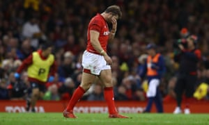 Leigh Halfpenny of Wales shows a look of dejection after missing a straight forward penalty in front of the posts.