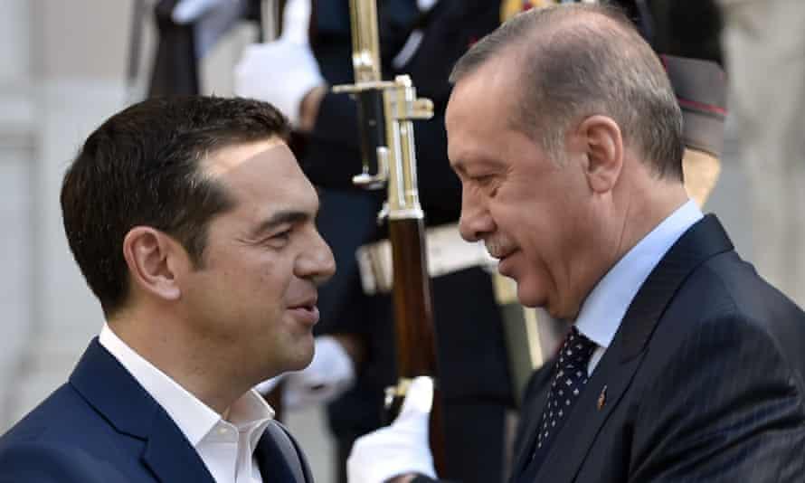 The Greek prime minister Alexis Tsipras, left, welcomes Recep Tayyip Erdoğan to Athens on Thursday