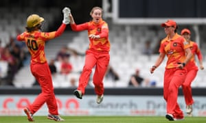 Phoenix bowler Kirstie Gordon celebrates after catching Oval batter Fran Wilson off her own bowling