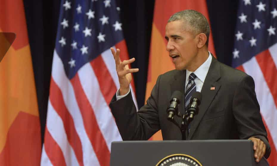 Barack Obama gives a speech at the National Convention Centre in Hanoi on 24 May.
