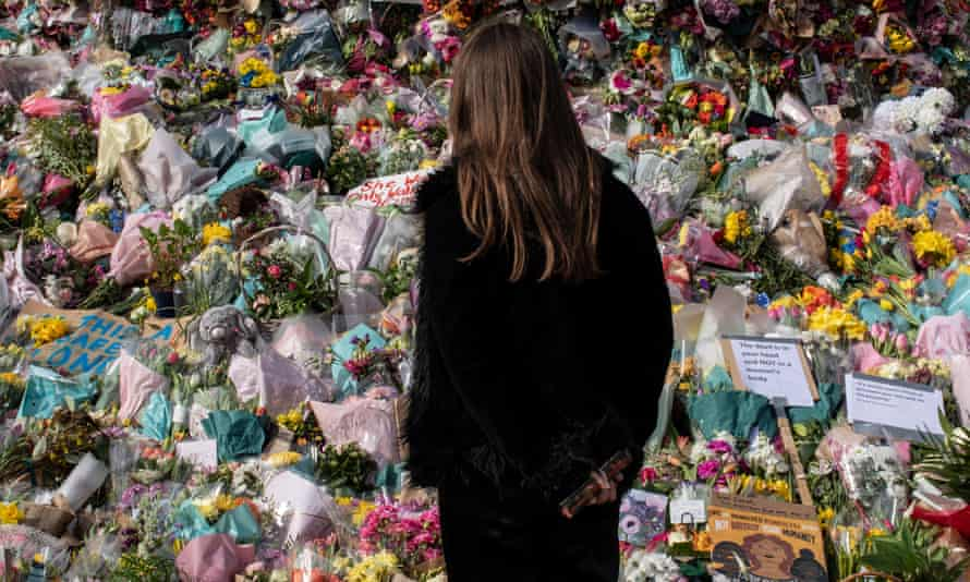 Floral tributes to Sarah Everard, Clapham Common, London.