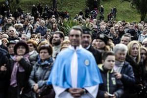 Devotees gather during the opening of the Holy Door at the Sanctuary of Divino Amore, Rome