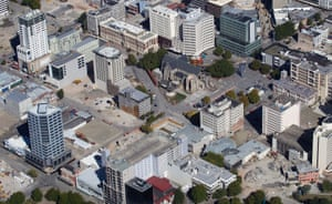 Christchurch's public exclusion zone after the 2011 earthquake. The Pacific Tower is top left