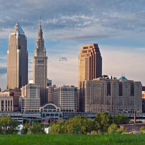 Cleveland. Image of Cleveland downtown skyline at sunset
