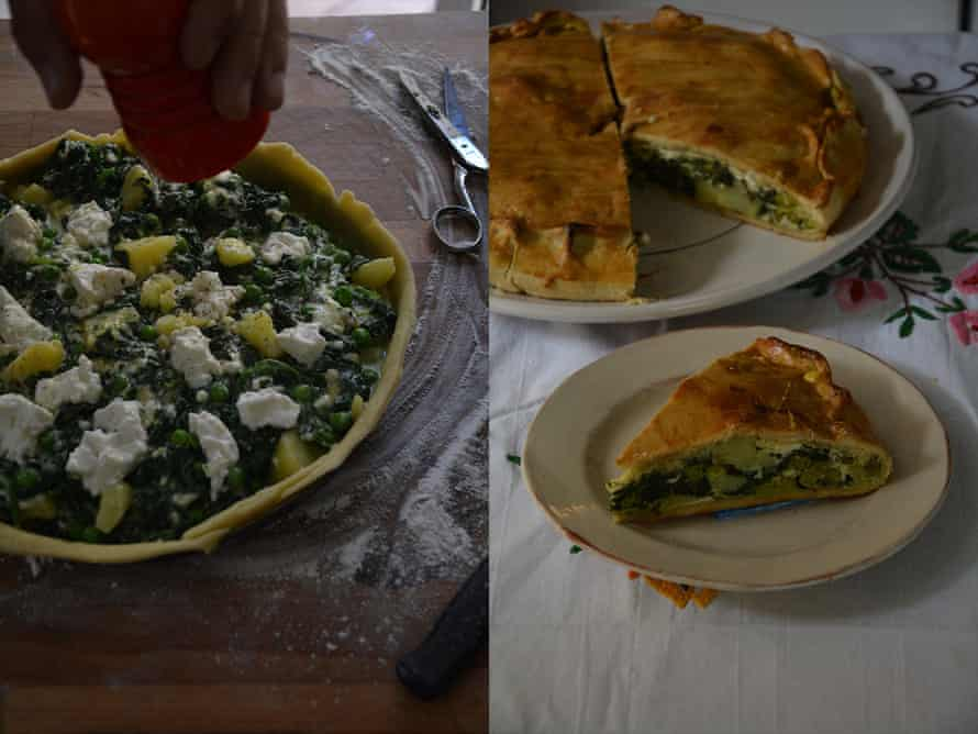 Rachel Roddy's spring vegetable and cheese tart