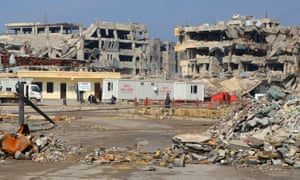 The remains of buildings from the fight against Isis in Mosul. $30bn is about third of what Baghdad estimates is needed in the long term.