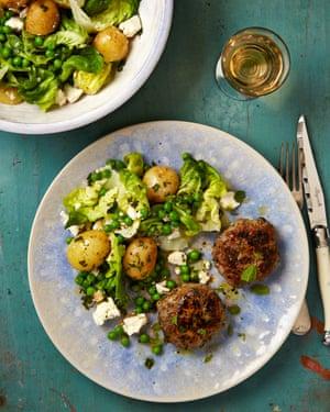 Lamb burgers with minty new potato, feta and pea salad