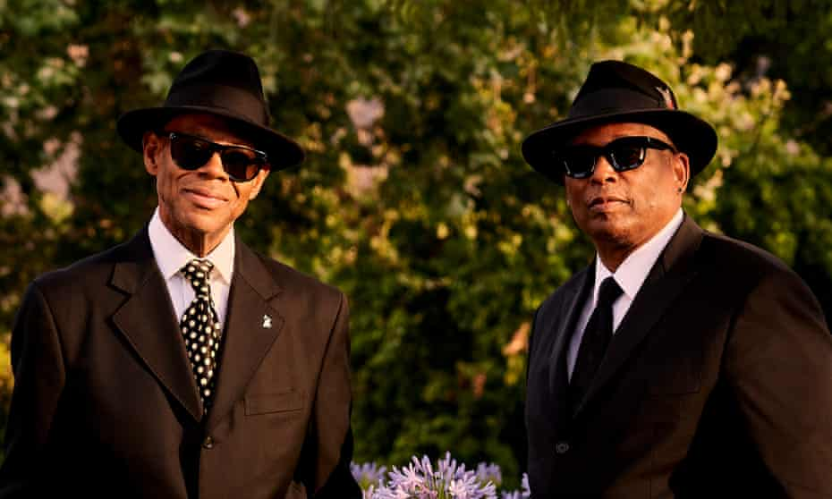 Jimmy Jam, left, and Terry Lewis, near their studio in Agoura Hills, LA.
