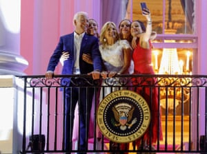 President Joe Biden, First Lady Jill Biden and their granddaughters Finnegan, Naomi and Ashley Biden pose for a picture during Independence Day celebrations in the capital