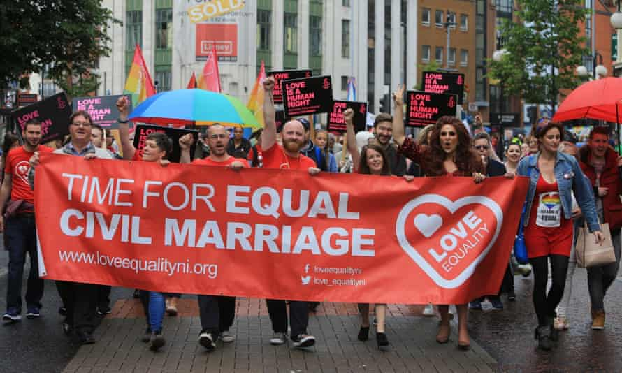 March in Belfast in favour of same-sex marriage, July 2017.