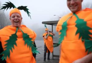 Dutch fans dressed as carrots