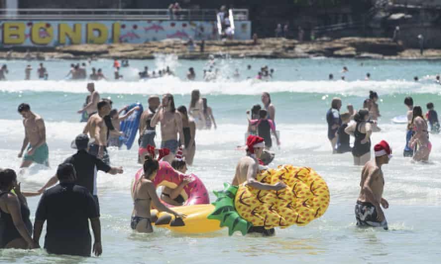Christmas Day swimmers at Bondi beach in Sydney