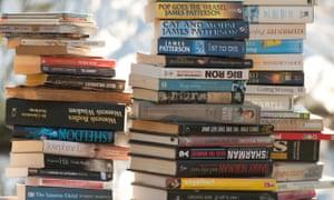 Sacks of second hand paperback books