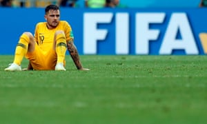Australia's Joshua Risdon looks dejected after the defeat against Peru