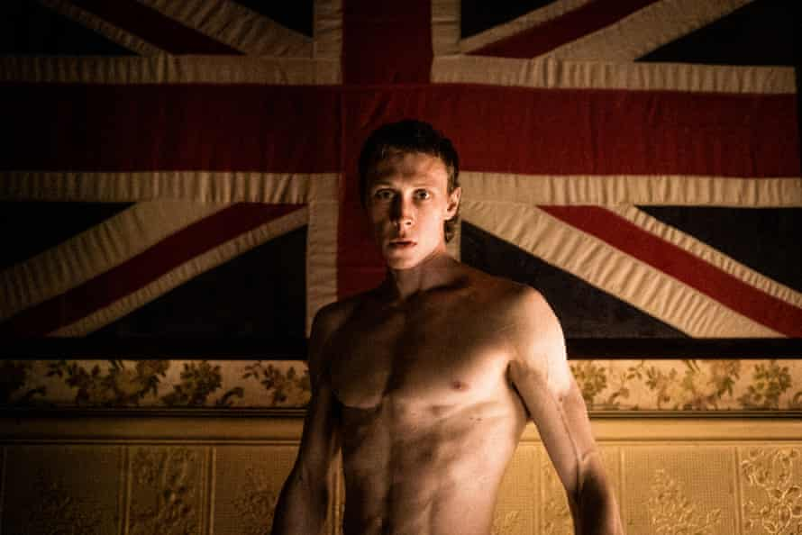 Actor George MacKay against union flag in True History Of The Kelly Gang