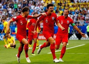 Maguire celebrates with Stones and Harry Kane. It's only his tenth international appearance.