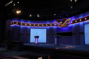 The stage is prepped for Donald Trump and Joe Biden's final presidential debate at Belmont University in Nashville, Tennessee.