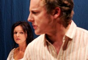 Betrayal Dervla Kirwan (Emma) and Samuel West (Robert), directed by Roger Michell, Donmar Warehouse, London, 2007.