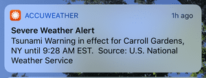 The weather app Accuweather picked up on the message and sent out a mobile alert to subscribers.