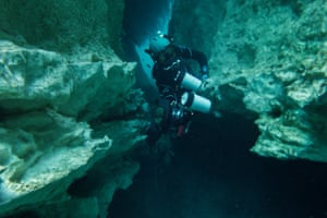 Some passages connect the cenotes to the sea, so a diver can enter one in the jungle and emerge in the ocean