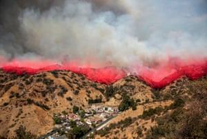The La Tuna Canyon fire, one of the largest wildfires in Los Angeles' history, over Burbank, California, USA