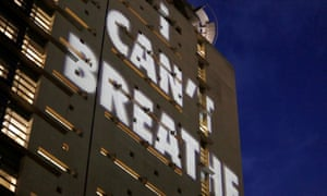 'I Can't Breathe' is projected on a building in Portland, Oregon, during a protest last month.