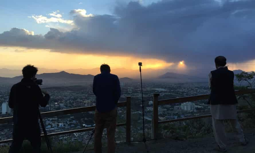 Filming from TV hill at sunrise in Kabul, Afghanistan, 2015.