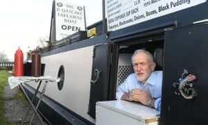 Jeremy Corbyn during a visit to The Oatcake Boat owned by Kay Mundy, in Stoke-on-Trent.