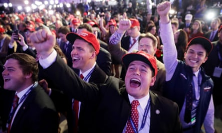 Republican Presidential Nominee Donald Trump Holds Election Night Event In New York CityNEW YORK, NY - NOVEMBER 08: Supporters of Republican presidential nominee Donald Trump cheer during the election night event at the New York Hilton Midtown on November 8, 2016 in New York City. Americans today will choose between Republican presidential nominee Donald Trump and Democratic presidential nominee Hillary Clinton as they go to the polls to vote for the next president of the United States. (Photo by Chip Somodevilla/Getty Images)