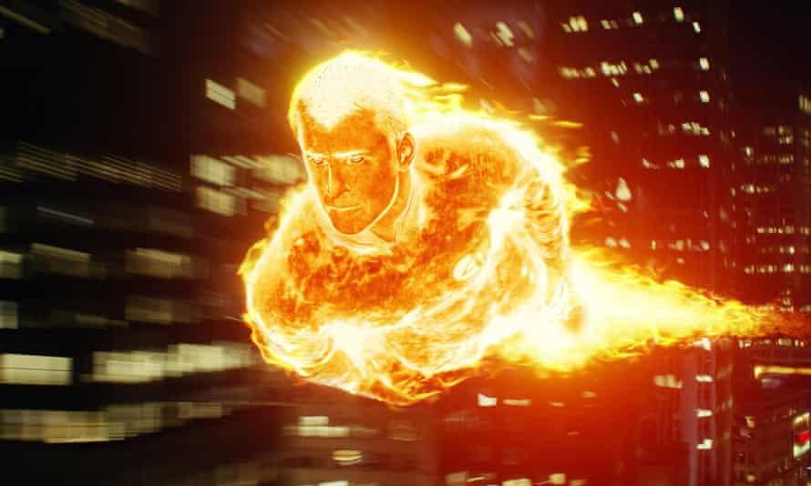 Fiery … Chris Evans in Fantastic Four.