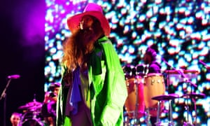 Lights out … Erykah Badu on the Fader Stage at Field Day festival in Brockwell Park, London.