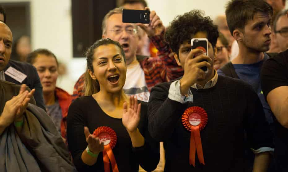 Labour supporters at the Harrow count on election night.
