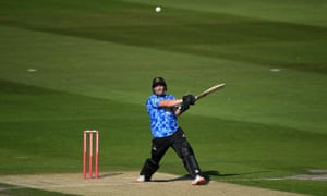 Aaron Thomason in action for Sussex against Essex in the T20 Blast.