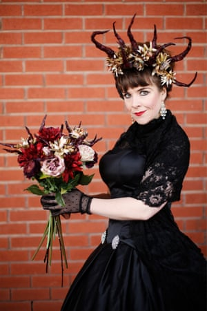 Florist Jen Baker from Chester who has used crab claws and dried flowers to make her bouquet and headdress