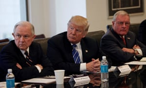 Sessions, Trump and retired US Army General Keith Kellogg at Trump Tower in New York on Friday.