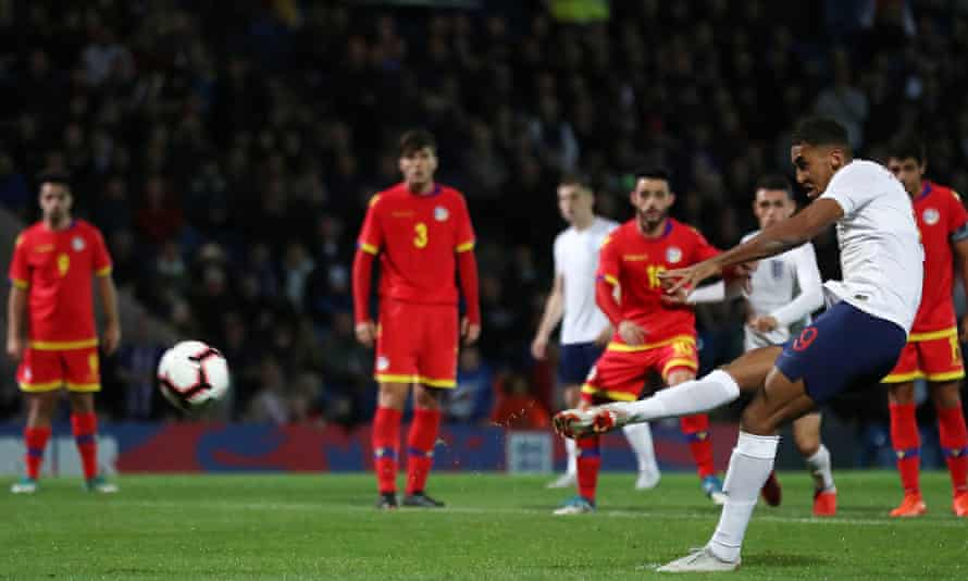 Dominic Calvert-Lewin scores his side's fourth goal, and his second, from the spot during their Group 4 qualifier with Andorra at Chesterfield.