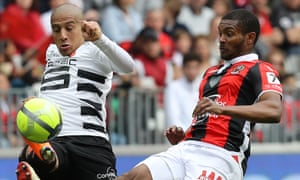 Marlon Santos, right, battles for possession with Wahbi Khazri during his loan spell with Nice last season.