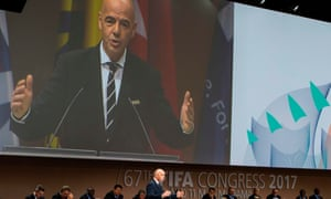 Gianni Infantino speaking at the 67th Fifa congress in Bahrain on Thursday.