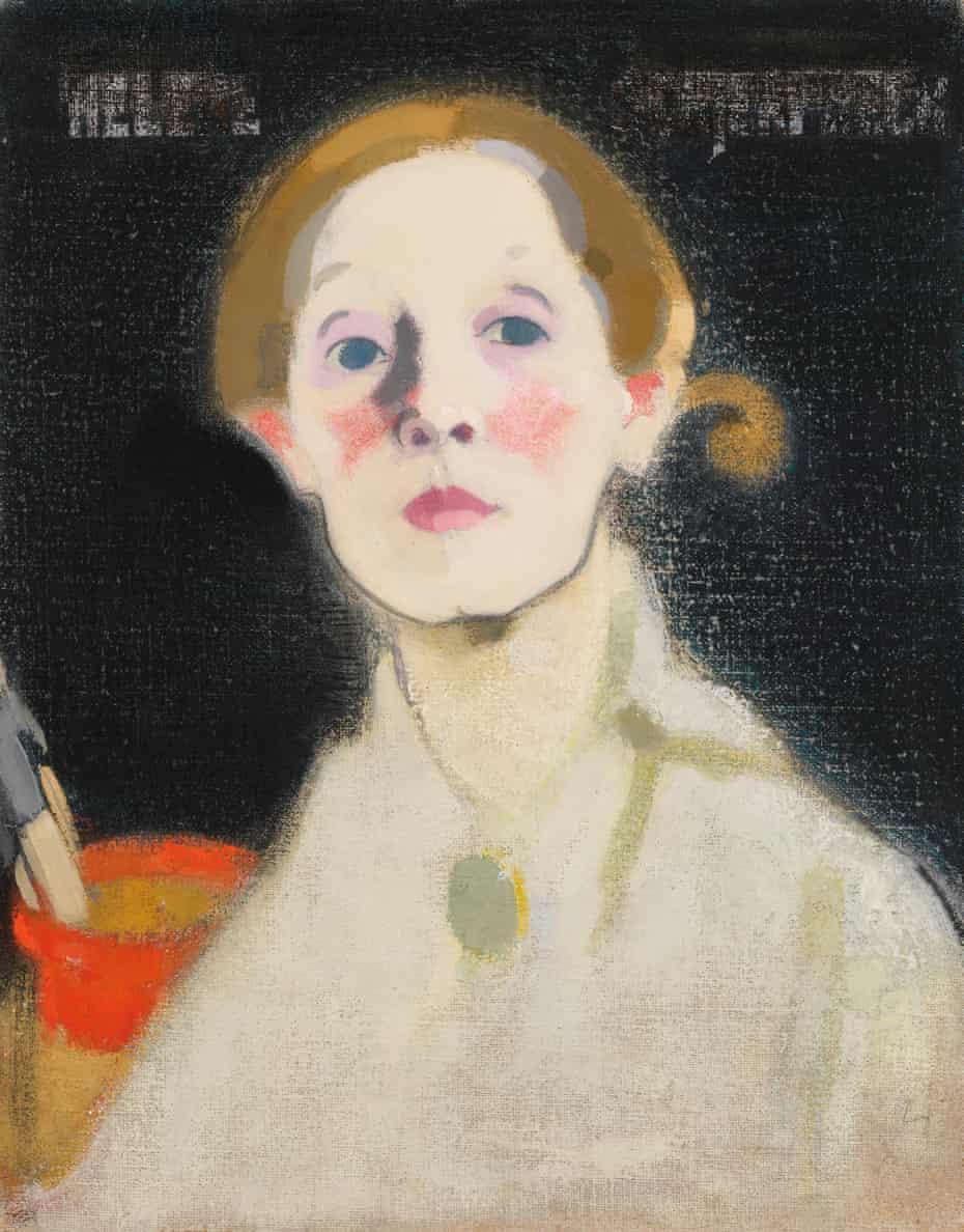 Helene Schjerfbeck - Self-portrait, Black Background, 1915.