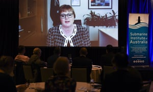Australia's defence minister Linda Reynolds delivers a virtual speech at the Submarine Institute of Australia conference