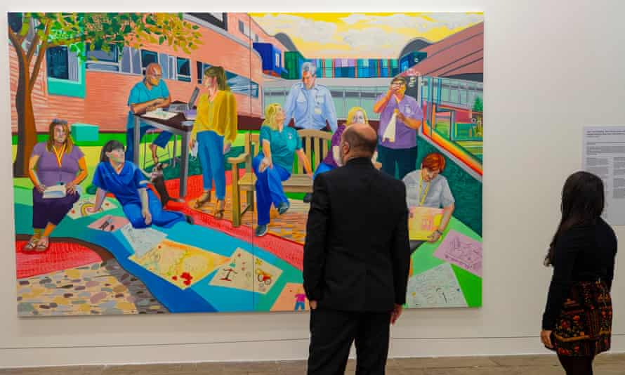 An Aliza Nisenbaum mural of Liverpool NHS workers on display at Tate Liverpool, which reopens on 17 May.