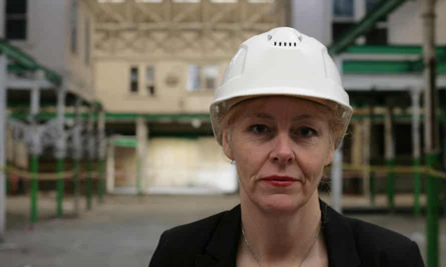 Sharon Ament in the derelict West Smithfield buildings.