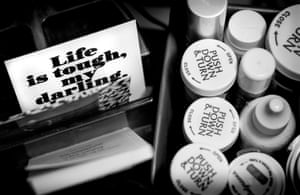 "A magnet given to Stephen by his friend Becky sits amongst only a portion of the medication on his bedside table. ""I keep it there,"" Stephen says, ""to remind me to keep going."""