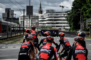 Riders of the BMC Racing team during a training session in Düsseldorf.