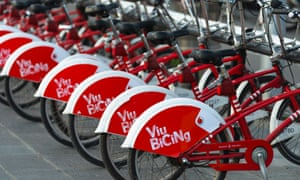 Bikes for hire from Barcelona's Bicing scheme.