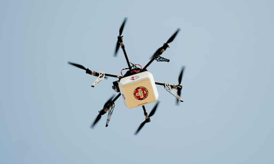 A drone delivers supplies and medicine in the US.