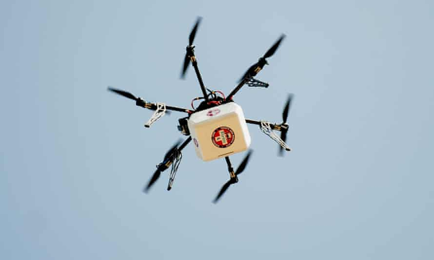 A drone delivers supplies and medicine to thousands of people seeking dental and medical care at a clinic in the Wise county fairgrounds in Wise, Virginia. The flight was undertaken in part to study how the technology could be used in humanitarian crises around the world.