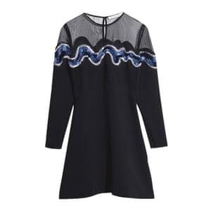 skater black dress with sequin design blue white black Stories
